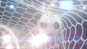 Flugor för fotbollboll in i målet med kameran exponerar royaltyfri illustrationer
