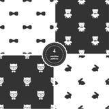 Flugor, Teddy Bears, Hipsterkatter och kaniner Uppsättning av svartvita sömlösa modeller royaltyfri illustrationer
