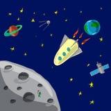 Flugrakete von Erde zu Mond Lizenzfreies Stockbild