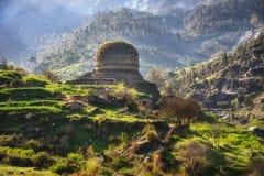 Flugsmälla Pakistan för buddistisk kloster arkivbilder