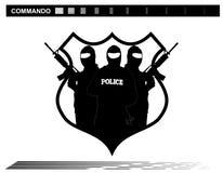 FLUGSMÄLLA Team Police för vektorillustrationspecialförband Arkivfoto
