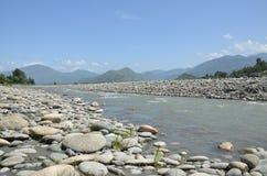 Flugsmällaflod i nordliga Pakistan Arkivfoto