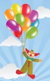 Flugwesen-Clown und Ballone Stockfotos