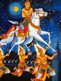 Flugwesen-Pferden-Tempel-Wandbild Stockbild