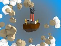 Flugweseninsel mit Kohleenergieanlage Stockbilder
