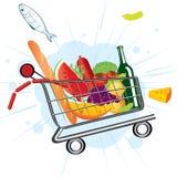 Flugwesenlaufkatze am Supermarkt Stockbilder