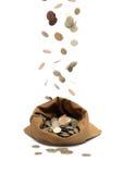 Flugwesenmünzen, fallend in Beutel Stockfotografie