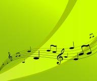 Flugwesenmusik auf grünem Hintergrund. Lizenzfreies Stockbild