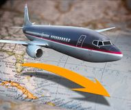 Flugzeug über Karte