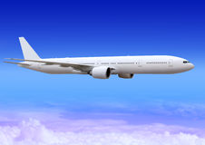 Flugzeug über Wolken der Aerosphäre Stockfotos