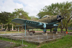 Flugzeug, AD-6 Douglas A-1 Skyraider in der Ausstellung der gefangengenommenen amerikanischen militärischer Ausrüstung, Farbe Stockbilder