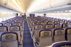 Flugzeug Airbusses A380 innerhalb der Sitze Stockbild