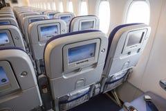 Flugzeug Airbusses A380 innerhalb LCD-Monitoren Stockfotos