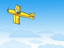 Flugzeug auf blauem Himmel Stockfoto