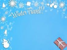 Flugzeug auf blauem Hintergrund für Winterreise lizenzfreie abbildung