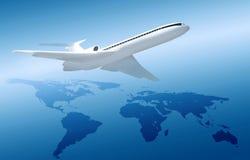 Flugzeug auf blauem Hintergrund mit Weltkarte Lizenzfreie Stockfotos