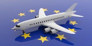 Flugzeug auf EU-Flaggenhintergrund, Ansicht von oben Abbildung 3D vektor abbildung