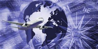 Flugzeug auf stilisiertem abstraktem Hintergrund Lizenzfreie Stockbilder