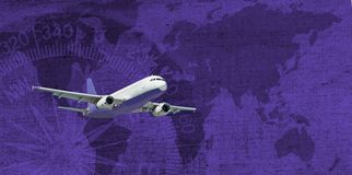 Flugzeug auf stilisiertem abstraktem Hintergrund Stockfoto