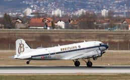 Flugzeug Breitling DC-3 in Zagreb Lizenzfreies Stockbild