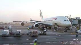 Flugzeug British Airwayss A380, das am Flughafen instand gehalten wird Begriffsleitartikel Lizenzfreies Stockbild