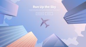 Flugzeug, das über Geschäftswolkenkratzer fliegt Lizenzfreie Stockbilder