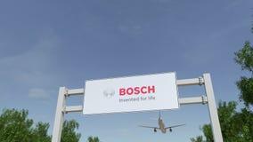 Flugzeug, das über Werbungsanschlagtafel mit Robert Bosch-GmbHlogo fliegt Redaktionelles 3D, das Klipp 4K überträgt stock abbildung