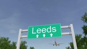Flugzeug, das zu Leeds-Flughafen ankommt Reisen zu Begriffs-Wiedergabe 3D Vereinigten Königreichs Lizenzfreie Stockfotos