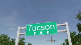 Flugzeug, das zu Tucson-Flughafen ankommt Reisen zu Begriffs-Wiedergabe 3D Vereinigter Staaten Lizenzfreie Stockbilder