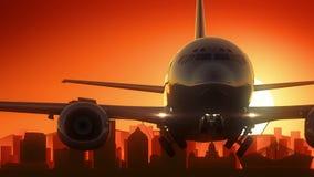 Flugzeug Durbans Südafrika entfernen Skyline-goldenen Hintergrund stock abbildung