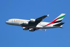 Flugzeug Emirat-Airbusses A380 Lizenzfreie Stockfotografie