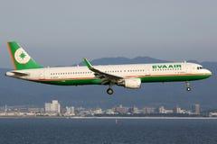 Flugzeug EVA Air Airbuss A321 Stockbild