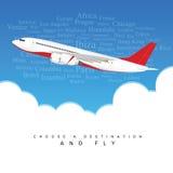 Flugzeug in farbigem Endstück stellte mit zwei Motoren über den Wolken IL ein stock abbildung