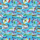 Flugzeug-Fliegen-Himmel-nahtlose Beschaffenheit lizenzfreie abbildung