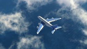 Flugzeug fliegt in einen Himmel lizenzfreies stockbild