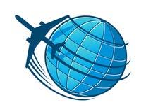 Flugzeug fliegt um die Erde Stockbilder