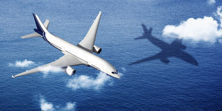 Flugzeug-Flug-Fliegen-Ferien-Illustrations-Konzept des Flugzeug-3d Stockfotografie