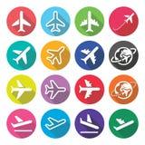 Flugzeug, Flug, Flughafen - flache Designikonen Lizenzfreies Stockbild