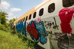 Flugzeug-Friedhof Bangkok Stockfotos