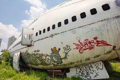 Flugzeug-Friedhof Bangkok Stockfotografie