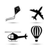Flugzeug, Hubschrauber, Luftballon und Drachenvektor Lizenzfreies Stockbild