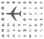 Flugzeug-Ikone Zeichen mit der Reflexion lokalisiert auf Weiß Gesetzte Ikonen des Transportes und der Logistik Gesetzte Ikonen de Lizenzfreies Stockbild