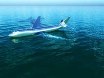 Flugzeug im Wasser Stockfotografie