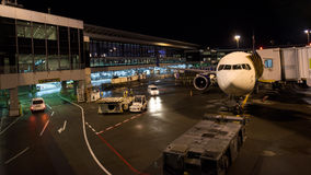 Flugzeug an internationalem Flughafen Tokyos Stockfotografie