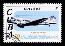 Flugzeug, 50. Jahrestag von Fluglinie CUBANA serie, circa 1979 Lizenzfreies Stockfoto