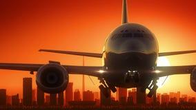 Flugzeug Johannesburgs Südafrika entfernen Skyline-goldenen Hintergrund stock video