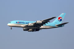 Flugzeug Korean Airs Airbus A380 International Airp Seouls Incheon Lizenzfreie Stockbilder