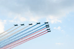 Flugzeug-Lack Russeflagge des Angriffs Su-25 Stockbild