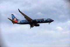 Flugzeug-Landung am Himmel-Hafen-Flughafen in ihr ist Endanflug Lizenzfreie Stockfotografie