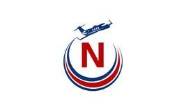Flugzeug Logo Initial N Lizenzfreie Stockfotos